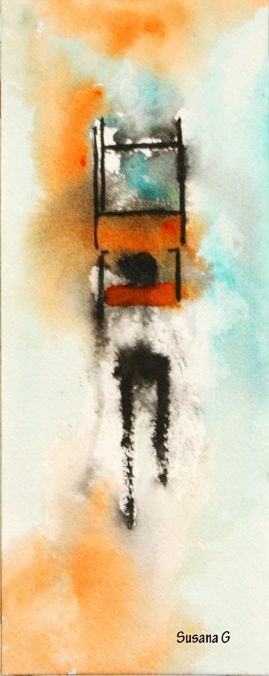 The walking chair, Susana G López. Tinta china. Some abstractions with chinese ink and watercolors (cobalt turquoise and a kind of orange. Brand:Schmincke)