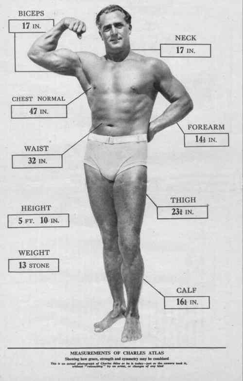 00 measurements of Charles Atlas
