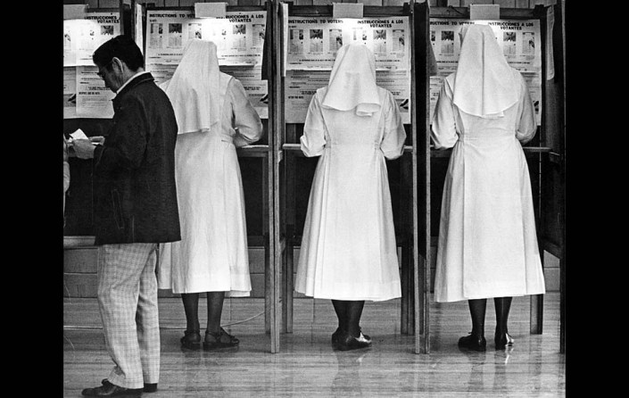 Nov. 2, 1976: Little Sisters of the Poor vote at East 1st Street polling place during heave voter turnout in the President Gerald Ford  - Jimmy Carter race.